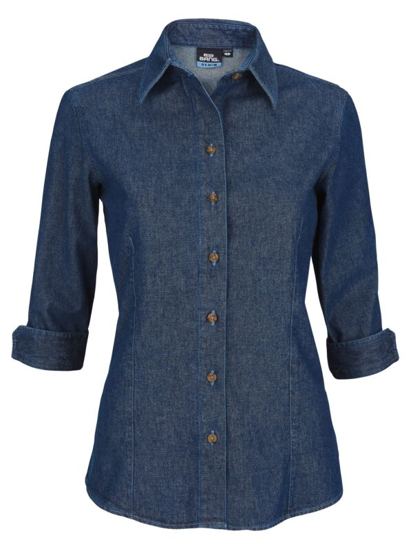 Women's 3/4 Sleeve Heavyweight Denim Shirt