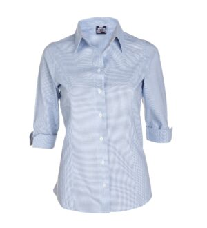 Women's 3/4 Sleeve Micro Check Dress Shirt